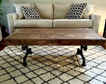Steel and Pine Wood Weathered Coffee Table