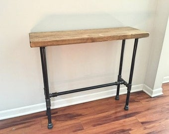 Steel and Pine Wood Console Table