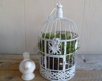 Beautiful White Metal Birdcage Wedding Cards