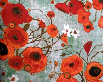 Karen Tusinski Designer Fabric,  Gallery Fiori Poppies, Poppy Fabric, Karen Tusinski Artist Fabric, Sold by the Yard
