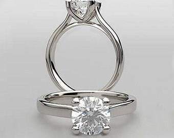 Genuine Moissanite 1.00 Carat Brilliant Round Solitaire Engagement Ring Sculptural Cathedral Design in Solid 14K White Gold