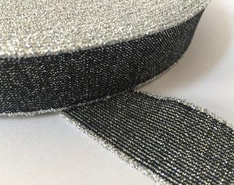 1 inch elastic, 25 yards 1 inch glitter Elastic, Glitter Elastic Waistband, Shimmery Elastic