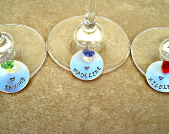 Hand Stamped Personalized Wine Glass Charms with Crystal Heart - Wine Charms - Personalized Bridal Party Gift - Bridesmaid Gifts