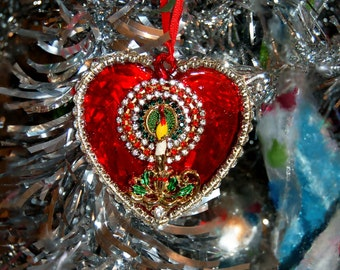 Vintage Christmas Ornament Made of Vintage Jewelry OOAK