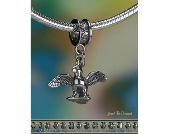 Sterling Silver Puffin Charm or European Style Charm Bracelet .925