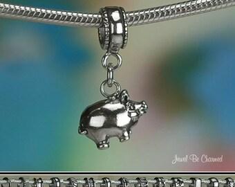 Sterling Silver Piggy Bank Charm or European Style Charm Bracelet Pig