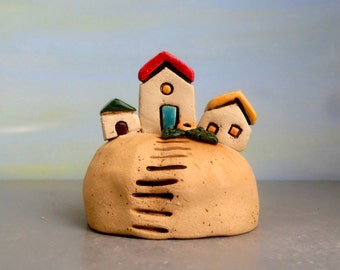 Home and living collectible miniature , ceramic house , rustic cottage house , beach art , ceramic sculpture , ceramics and pottery, for him