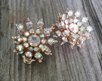 Vintage Aurora Borealis Crystal Gold Starburst Earrings