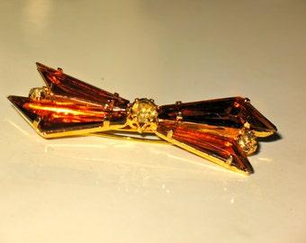 Vintage Austrian Crystal Triangular Amber Rhinestone Brooch