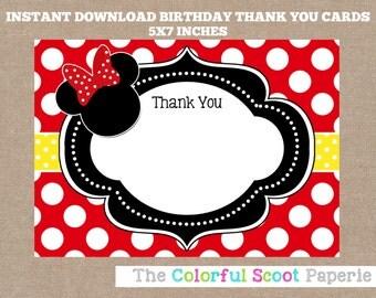Minnie Mouse Thank You Card, Disney, Disney Thank You Cards, Minnie Mouse Thank You Note, Red, Yellow (#613)