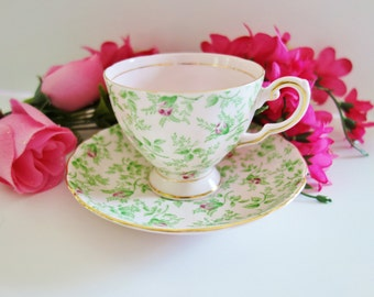 1950s Tuscan Teacup, Pink Tuscan Tea Cup, Collectible Teacup, Pink Chintz Teacup