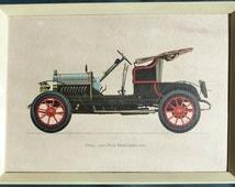 "Opel Doktorwagen 1909 Vintage Classic Car Original Framed Vintage Art Print on Textured Paper 38 x 28 cms (14"" x 11"")   Good Condition"