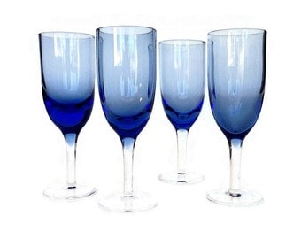 Hand Blown Champagne Flutes, Blue Glass, Set of Four