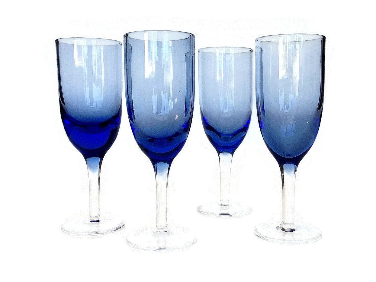 Hand blown champagne flutes blue glass set of four - Hand blown champagne flutes ...