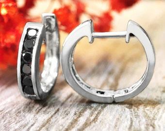 16MM Black Diamond Hoop <Channel> Solid 14K White Gold (14KW) Huggie Earrings *Fine Jewelry* (Free Shipping)