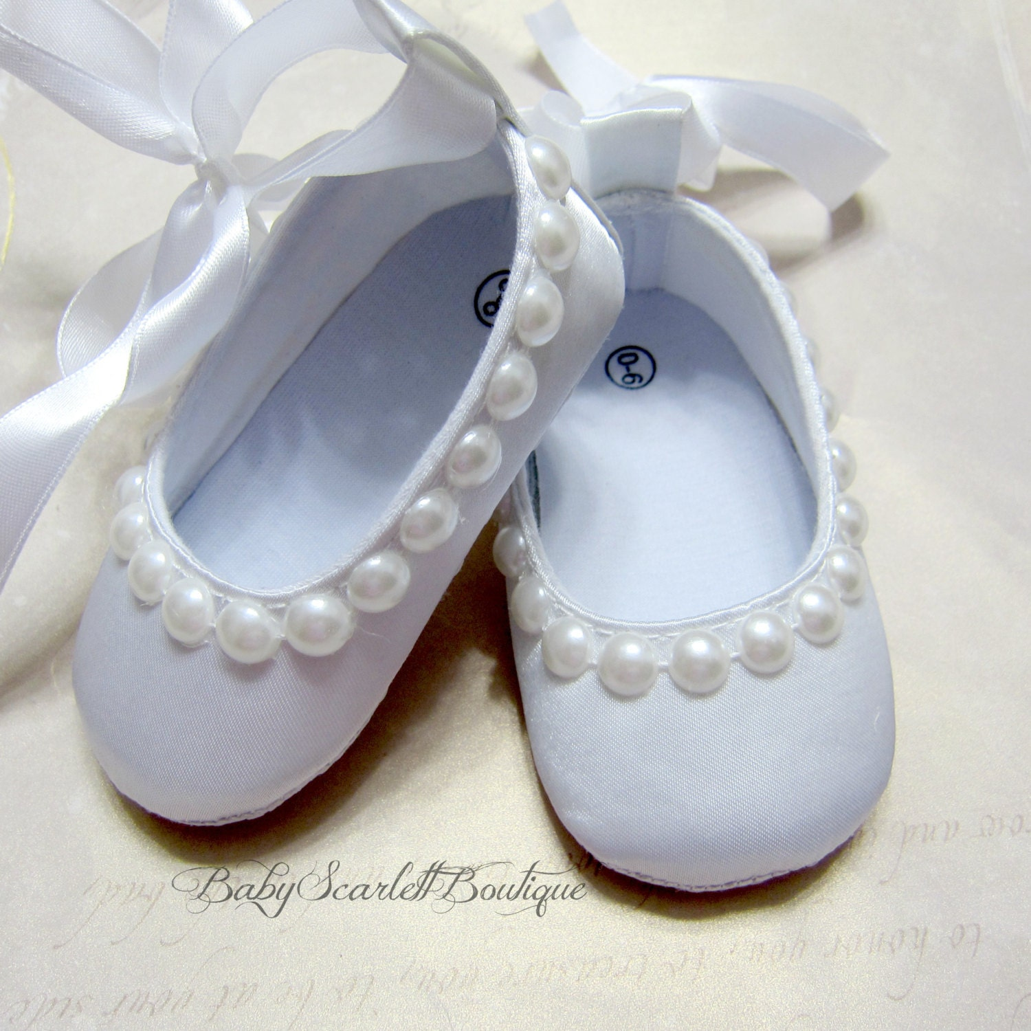 white satin baby shoessoft sole shoesinfant shoes