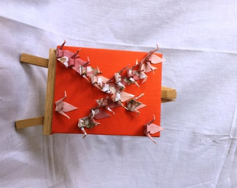 Handmade Canvas - Origami Art - Orange with Pink Paper Cranes