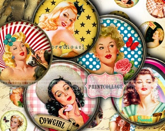 Pin Up Girls - Digital Printable Sheet Cabochon images 1.5 inch 1inch 18,14mm round images Printable images Instant download C195