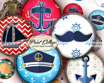 Nautical Summer - Digital Printable Sheet Cabochon images 1.5 inch 1inch 18,14mm round images Printable images Instant download C205