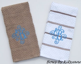 Monogrammed Dish Towels, Personalized Dish Towels, Set of Dish Towels