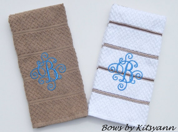 Monogrammed Dish Towels Personalized Dish Towels By Bowsbykitsyann