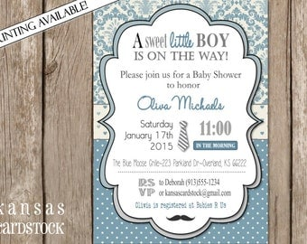 Boy Baby Shower Invitations, Mustache baby shower, neck tie, blue and gray, DIY, vintage blue