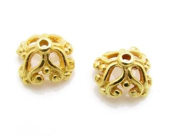 2 Pcs, 8.8mm, 24k Gold Vermeil Bead Caps