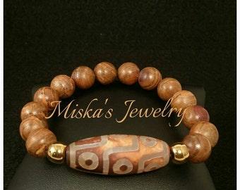 12mm Agate Gemstone Beaded Masculine Mens Bracelet Miskas Jewelry Miskas Gents