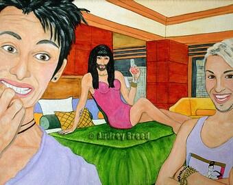 Conchita Wurst Gay Cute Fetish Art Artist ElaineVernon Original Painting