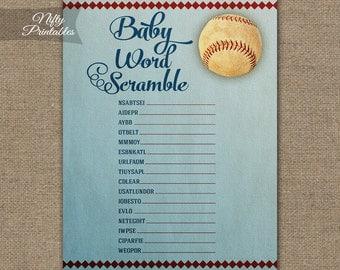 Word Scramble Baby Shower Game - Baseball Baby Shower - Baseball Scramble Game - Sports Printable Shower Games - Vintage Baseball Game BSB