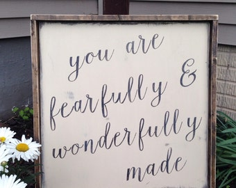 You are fearfully and wonderfully made wood sign with rustic frame psalm 139:14