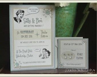 Retro Wedding Invitation, Kitsch Wedding Invitation, Vintage Wedding Invitation, Flat Wedding Invitation, Quirky Wedding Invitation, SAMPLE