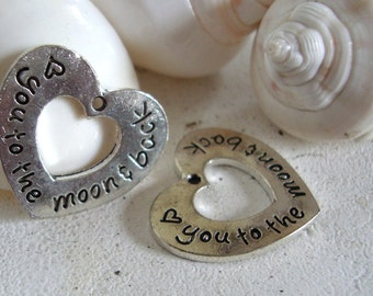 Love you to the moon and back,heart word charm