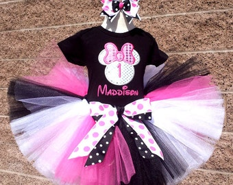 Minnie Mouse Silhoutte Disco Pink, Black and White Birthday Number Tutu -Personalized Birthday Tutu,Sizes 6m - 14/16