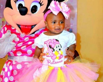 Baby Minnie Mouse Pink and Yellow Birthday Number Tutu -Personalized Birthday Tutu,Sizes 6m - 14/16