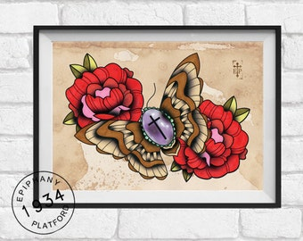 Tattoo Print of Moth and Roses Brooch. Neo Traditional Tattoo style.
