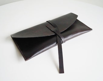 Leather Case with Strap Leather Envelope Bag Leather Clutch Leather Travel Envelope Leather Evening Bag