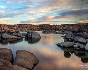 Fine art Landscape photography print, waterscape, serene, Zen, wall art, Lake Watson, Prescott, Arizona, sunset, reflections, peaceful decor