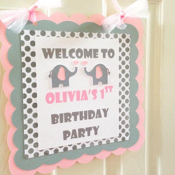 Elephant Door Sign 1st Birthday Elephant Theme Party Pink