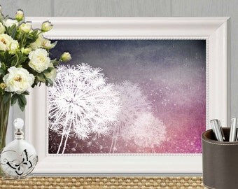 Dandelion wall art print Purple Home decor Dandelion printable wall decor  Floral Bedroom art Modern Abstract