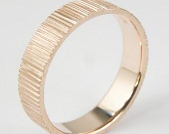 Wedding ring.Wedding band.5mm x 1.5 mm Flat in line pattern finish.14k rose gold.Women ring,Men ring.