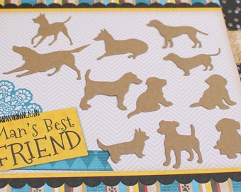dog and puppy die cuts, silhouettes pet embellishments for scrapbooking card making, animal die cuts