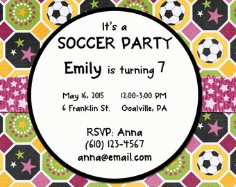 Girls Soccer Party Invitations - Customized & Printable