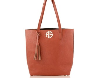 Monogram Camel Shoulder Tote