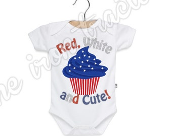 Red White Blue Cupcake July 4th Onesie / Shirt / Iron On Transfer ~ Summer ~ Fireworks ~ July 4 ~ Personalized