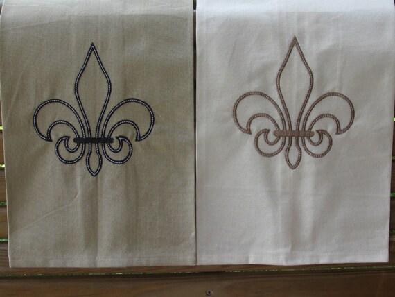 Fleur de lis kitchen or hand towel french louisiana - Fleur de lis bath towels ...