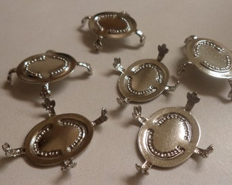 25mm x 18mm oval silvertone setting Fleur des lis prongs 6 pcs per lot l