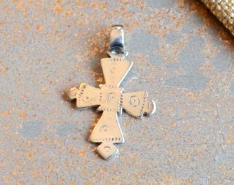Ethiopian Cross Pendant Sterling Silver Coptic Cross African Cross Jewelry Making Supplies 30x25mm, 7mm Fixed Bail, Bohemian Cross, BS170627