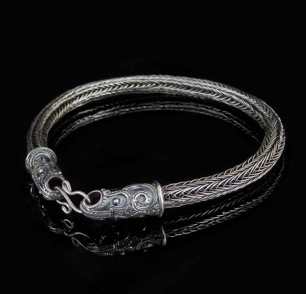 scania sterling silver viking bracelet crow knit knitted. Black Bedroom Furniture Sets. Home Design Ideas
