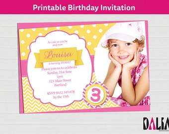 Photo Invitation - Pink and Yellow Printable Birthday Invitations - 3rd Birthday - 2nd Birthday - Digital Invitation - Printable Invitation!